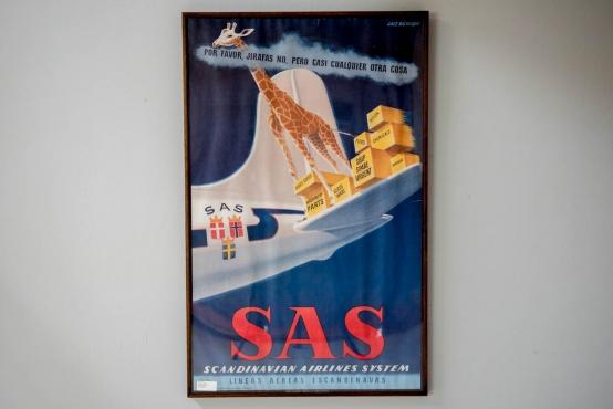 """ヴィンテージポスター""""SAS""""フレーム付き"""