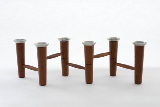 木製キャンドルスタンド/折り畳み式