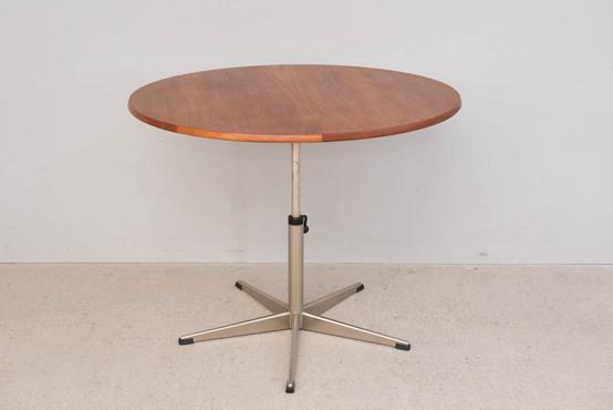 ラウンドダイニングテーブル/スチールレッグ/チーク Φ87