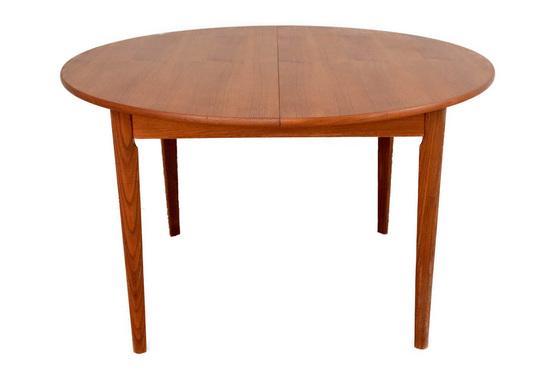 ラウンドダイニングテーブル/リーフ内臓/チーク